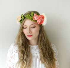 0bc79177da69 Items similar to Peach Coral Ranunculus  Adele  Flower Crown - Boho Chic  Wedding Bridal - READY TO SHIP on Etsy