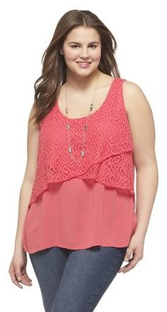 Plus Size Crochet Overlay Tank - Daily Fashion Outfits Plus Size Stores, Plus Size Clothing Stores, Plus Clothing, Looks Plus Size, Look Plus, Dresses For Apple Shape, Chubby Fashion, Daily Fashion, Plus Size Women