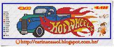 Hot Wheels x-stitch Cross Stitch Bookmarks, Cross Stitch Alphabet, Cross Stitch Charts, Cross Stitch Patterns, Perler Bead Art, Perler Beads, Stitch Cartoon, Plastic Canvas Patterns, Cross Stitching