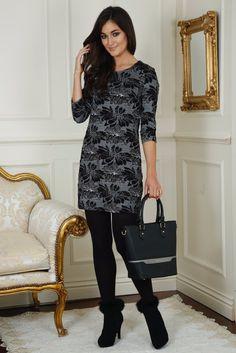 Lizzy Black and White Print Tunic Dress