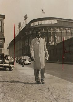 Jackie Robinson outside Ebbets Field after his MLB debut April 15th, 1947.