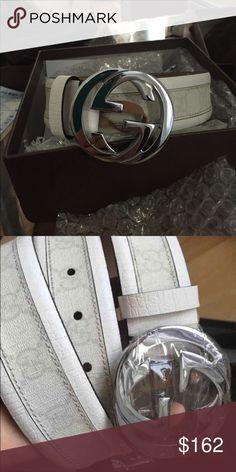 White Gucci Belt Size 40 Gucci Accessories Belts