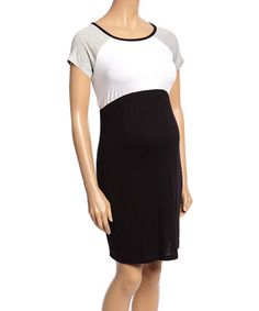 7b12e637652 Love this Black  amp  White Color-Block Empire Waist Maternity Dress on   zulily