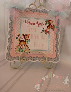Your place to buy and sell all things handmade 1st Birthday Party For Girls, 1st Birthday Decorations, Birthday Name, Vintage Birthday, Banners, First Birthdays, Woodland, Party Ideas, Frame