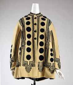 Ivory wool jacket with black silk embroidery, American, 1860s.