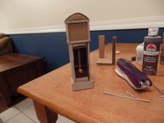 how to make a doll grandfather clock (miniature) from trash!