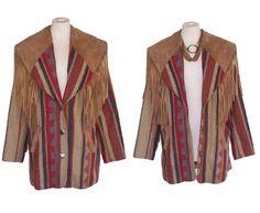 80s Jacket PIONEER WEAR Vintage Tan Striped by DeannesVintage
