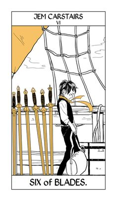 JEM MY BABY.  I love Cassandra Jean's art because she's so good at capturing character. More in her Shadowhunter Tarot, the six of sword (blades) can mean a long journey, so here is Jem on the way from Shanghai to England.  Cassandra Jean answers questions about the Shadowhunter Tarot (who decides who goes on the cards, who is going to be on which card, whether they're for sale) here.)