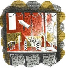 """Eric Ravilious: 'Fireworks' from """"High Street"""" lithograph (1938)"""