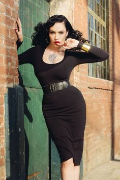 Pinup Couture - Hotrod Honey Dress in Solid Black Deadly Dames #michelinepitt
