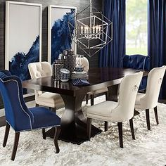 Ideas for Decorating an Elegant Dining Room Dining Room Blue, Dining Room Table Decor, Elegant Dining Room, Luxury Dining Room, Dining Room Sets, Decoration Table, Dining Room Design, Dining Room Furniture, Room Decorations