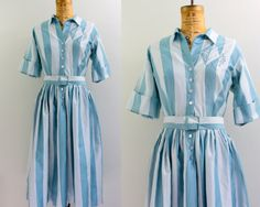 Check out the bodice detail. So swipe-able. Seen on etsy. 50s stripe dress / 1950s shirt dress / blue by VintConditionStyle, $62.00