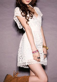 Low Cut V Neck Crochet Lace Stretchy Short Sleeve Dress on Luulla