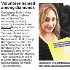 Campaigner Tania Holmes has been named as one of just ten community diamonds by insurance broker Swinton Group for helping to raise awareness for Group B Strep Support  #campaigner #helpingtoraiseawareness #fundraising #swintongroup #thankyou #GBSS #GBSawareness #groupBStrep #GBSaware #StrepB #bStrep #groupStrepB #groupBStrepsupport #swintoninsurance #SwintonGroup #community