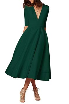 YMING Women s Elegant Cocktail Maxi Dress Deep V Neck 3 4 Sleeve Vintage  Pleated Dress at Amazon Women s Clothing store  efe214c3b