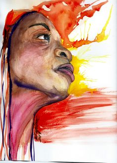 All eyes fall on this slender, black mother when she enters a room. She has a presence that exudes with confidence and grace. She walks like... :: watercolor portrait