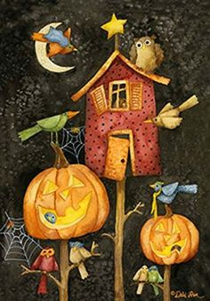 Halloween Flight Large Flag Birds Pumpkins Cobwebs >>> More info could be found at the image url.