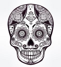 Hand drawn Day of the Dead holiday - Dia de los Muertos in Spanish - sugar skull.  Vintage style Hispanic folk spiritual art. All Saints Holiday mascot. Isolated vector illustration. Stock Photo - 46166718