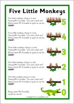 I chose this rhyme as it is quiet repetitive and you can get the children very involved with it. Five Little Monkeys song sheet - SparkleBox Rhyming Preschool, Nursery Rhymes Preschool, Rhyming Activities, Preschool Music, Number Songs Preschool, Therapy Activities, Preschool Activities, Songs For Toddlers, Kids Songs