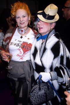 A Tribute to Anna Piaggi's Inimitable Style: With Vivienne Westwood at Westwood's spring/summer 2006 show in Paris. These two were obviously buds. (Photo by Foc Kan/WireImage)