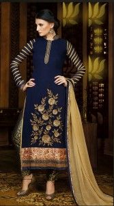 Fashionable dark blue georgette designer salwar kameez which is adorned with a zari, resham embroidery on the neck line, floral embroidery work on the lower part and lace work on the sleeves and border part. Macthing bottom and contrast dupatta attached with this attire.This unstitched suit can be stitched in the maximum bust size of 42 inches...