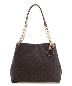 64fa2df86d Look at this Michael Kors Brown Jet Set Large Signature Shoulder Bag on   zulily today