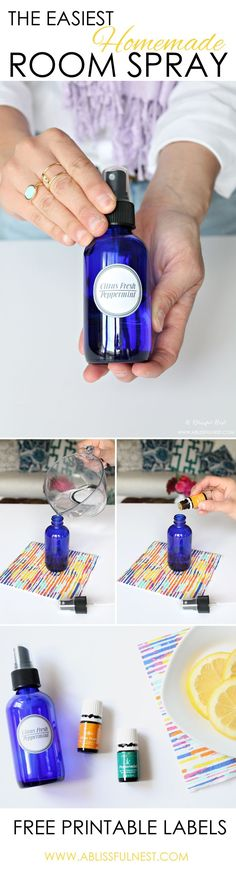Homemade Room Spray with Free Printable Labels | Aromatherapy DIY Gifts + Ideas