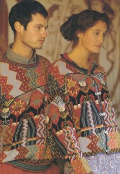 Kaffe Fassett Foolish Virgins cardigan and pullover.  I have the kit for the blue wool version.