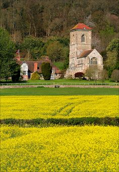 Little Malvern Priory UK View across the fields towards Malvern Priory, originally a Benedictine monastery, it was rebuilt in 1480-82. It lies...