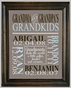 Personalized GRANDPARENT PRINT - with Grandchildren's Names and Birthdates - Completely Customizable - Christmas Gift - Anniversary Gift. by kelley