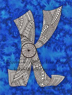 ACEO Alphabet Letter K zentangle doodle initial monogram art print by Karen Anne Brady