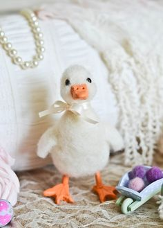 Needle Felted White Duck, Just In Time for Spring by Cynthia Foust Wolfe on Etsy, $35.00