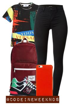 """""""7:28:15"""" by codeineweeknds ❤ liked on Polyvore featuring Herschel Supply Co., J Brand, New Balance and Knomo"""