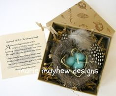 HANDKNIT Wool Knitted & Felted Bird Nest and by woollysomething. Great hostess gift. Comes with the Legend of the Christmas Nest.