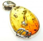 Tropical Polish Amber Sterling Silver Pendant