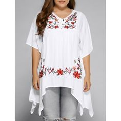 SHARE & Get it FREE | Plus Size Asymmetric Hem Floral Embroidered TopFor Fashion Lovers only:80,000+ Items·FREE SHIPPING Join Dresslily: Get YOUR $50 NOW!