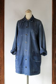 German vintage remade work coat/1950's Germany/2 chore jackets/HBT cotton/blue gray