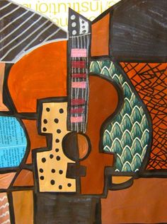Check out student artwork posted to Artsonia from the Picasso Guitar project gallery at Barrington Road Elementary School. Pablo Picasso, Picasso Cubism, Picasso Collage, Third Grade Art, Grade 3, Art History Lessons, Ecole Art, School Art Projects, Guitar Art