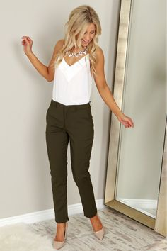 Straight Leg Trousers Olive, A classic pair of straight leg trousers with two seamless front and back pockets, belt loops, and a zipper button closure.