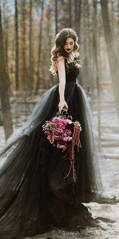 33 Beautiful Black Wedding Dresses That Will Strike Your Fancy--Wedding dress Black Wedding Gowns, Fancy Wedding Dresses, Wedding Dress Styles, Wedding Colors, Wedding Ideas, Black Weddings, Geek Wedding, Tulle Wedding, Wedding Bridesmaids