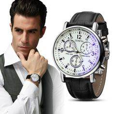 Men Wtach Luxury Brand Watch Faux Leather Mens Clock Analog Saat Watch Business Dress Quartz Watches Relojes Hombre #Affiliate