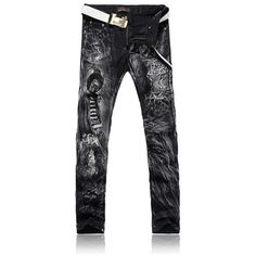 (44.44$)  Watch now - http://ai6ag.worlditems.win/all/product.php?id=32776961266 - Printing a leopard Taobao jeans men free packet on behalf of the new spring and summer long pants