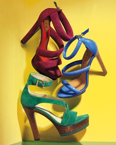 Jimmy Choo Green Sandal $825, Mark & James in Blue, Puor La Victoire in Red Spring 2011 #Shoes #Heels #InStyle