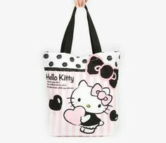 d1c9257004a7 HK canvas tote bag  stripy pink Hello Kitty Purse