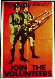 Recruiting poster for the Volunteer Force, a reserve unit established in 1934 by Fianna Fáil. The Volunteer Force wore the Vickers helmets, along with a German-style field grey uniform. The regular army did not wear this type of uniform but did wear the helmets. (National Museum of Ireland)