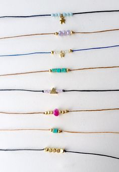 Unique one of a kind choker necklaces with a bohemian feel. Pictures listed are my best selling chokers but i can also custom make ones based on the beads and cord material of your choice! This designs by illa original bohemian choker is simple yet sylish! cord is around 13-14. Please let me know if you need a different length. Necklaces close with gold lobster clasp. ~ hand made ~  Options (listed in the order of the picture) See picture 2 for more options 1- gold over sterling shark tooth…