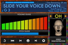 Voice Builder ($4.99) Voice Builder™ is a breakthrough iOS application for bringing power, resonance, range, flexibility, and endurance to the singing or speaking voice. It is the only application of its kind to be based on The Catona Voice Building System™, the revolutionary vocal exercise program for developing the muscles of the human voice. Singing Exercises, Vocal Exercises, Pitch, Voice Therapy, Speech Therapy, Speech Language Pathology, Speech And Language, The Voice, Human Voice