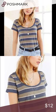 Vintage soft feel BDG casual striped scoopneck tee The perfect casual tee to complete any look! Has the perfect vintage boyfriend tee soft feeling and scoopneck to show just enough skin. Only worn once so in like new condition! Size large but could fit extra-large as well. Urban Outfitters Tops Tees - Short Sleeve