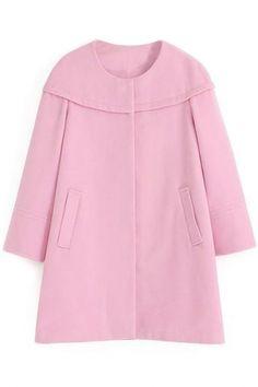 Captivating Solid Long-Sleeve Wool Cape Coat