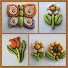 Thun Style flowers and butterfly. Fiori e farfalle in stile Thun. Segnaposti e biscotti in pasta di zucchero.